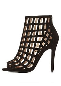 Qupid Caged Stiletto Ankle Booties