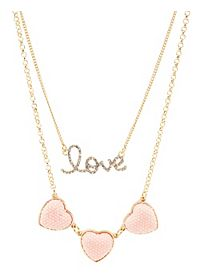 Pave Heart & Love Layered Necklace