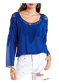 Crochet-Trim Long Sleeve Chiffon Top
