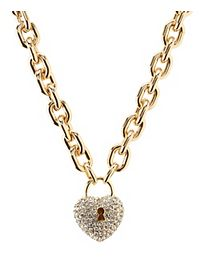 Rhinestone Heart Lock Chain Necklace