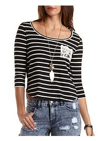 Lace Pocket Striped Boxy Tee