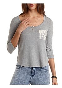 Lace Pocket Boxy Tee