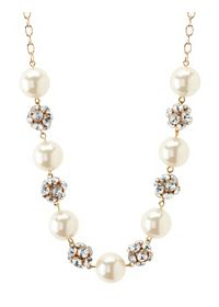Rhinestone & Pearl Statement Necklace