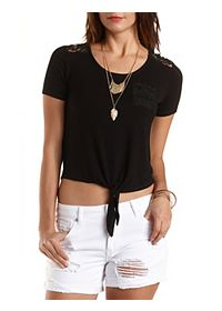 Lace Yoke Tie-Front Crop Top