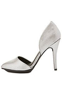 Textured Pointed Toe D'Orsay Pumps