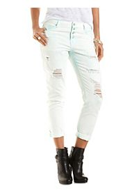 "Refuge ""Boyfriend"" Cropped Colored Jeans"