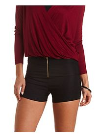 High-Waisted Shorts with Zipper