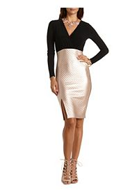 Quilted Metallic Bodycon Dress