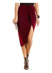 Ruched Asymmetrical Wrap Skirt