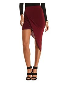 Draped Asymmetrical Wrap Skirt