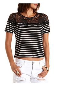 Lace Yoke Striped Top
