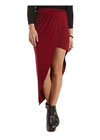 Asymmetrical Ruched Maxi Skirt