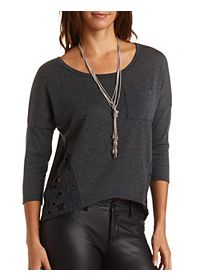 Lace Trim Boxy Pocket Top