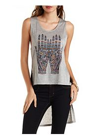 High-Low Hamsa Hands Tank Top