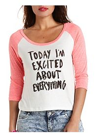Excited Rhinestone Graphic Baseball Tee