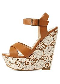 Lace-Covered Platform Wedge Sandals