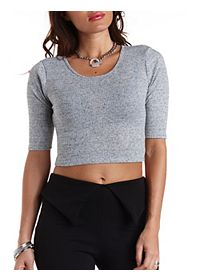 Ribbed Half Sleeve Crop Top