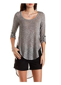 High-Low Rounded Hem Pullover