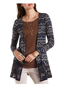 Paisley Cardigan with Lace Hem