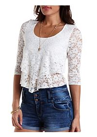 Layered Lace Flounce Crop Top