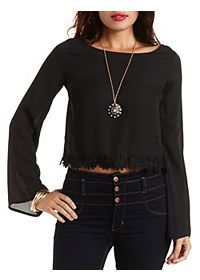 Daisy-Trim Bell Sleeve Crop Top