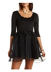 Scalloped Organza Skater Dress