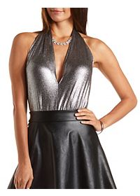 Metallic Plunging Halter Bodysuit
