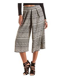 Geo Print Pleated Culottes