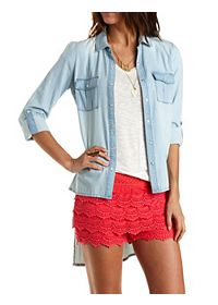 High-Low Button-Up Chambray Tunic