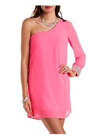 Rhinestone-Cuffed One Shoulder Shift Dress