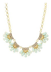 Faceted Stone Petal Statement Necklace