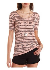 Tribal Print High-Low Tunic Tee