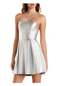 Strapless Metallic Skater Dress