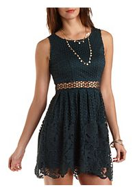 Mixed Lace Cut-Out Skater Dress