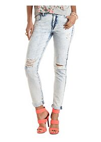 "Refuge ""Boyfriend"" Acid Wash Ripped Knee Jeans"