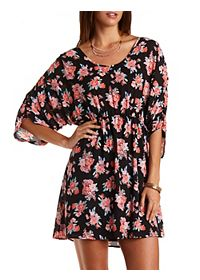 Ruched-Sleeve Floral Chiffon Dress