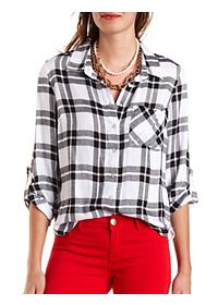 Crochet-Back Plaid Button-Up Top