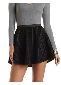 Flocked Velvet Skater Skirt