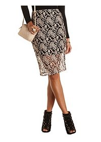 Two-Tone Lace Midi Skirt