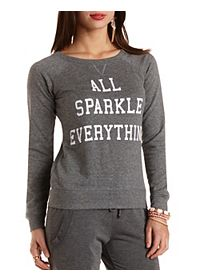 Sparkle Graphic Crew Neck Sweatshirt