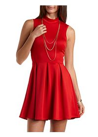 Sleeveless Mock Neck Skater Dress