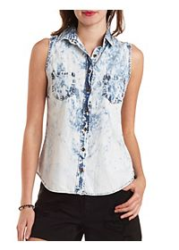 Acid Wash Chambray Button-Up Top