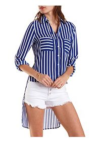 Striped High-Low Button-Up Top