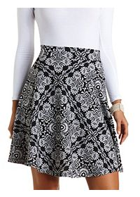 Textured Damask Print Skater Skirt