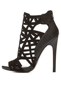 Laser Cut-Out Peep Toe Booties