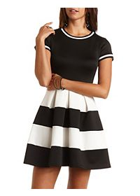Color Block Ringer Skater Dress