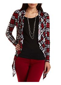 Plaid Print Cascade Cardigan