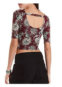 Paisley Print Bar-Back Crop Top