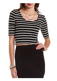 Striped Bar-Back Crop Top