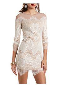 Mesh & Lace Long Sleeve Bodycon Dress
